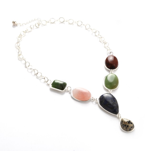 Rainbow Colors Natural Stones Statement Necklace