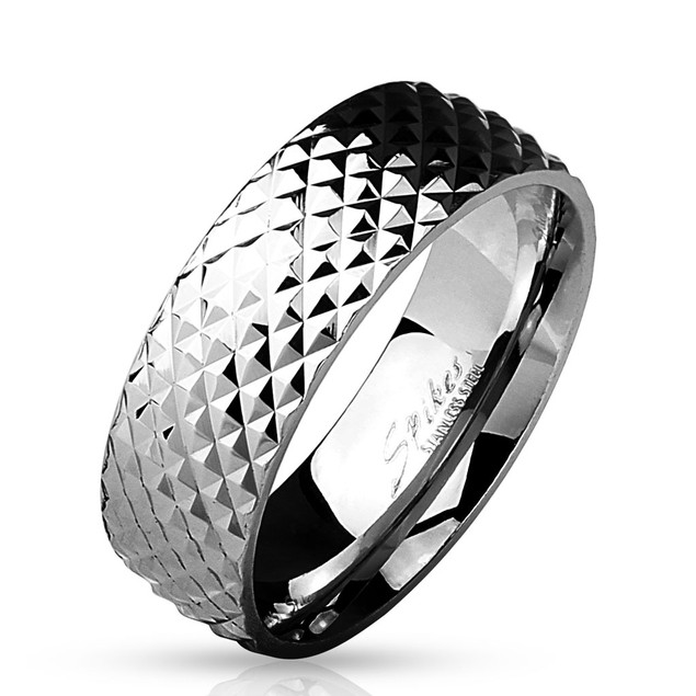 Pyramid Cut Surface Classic Dome Ring