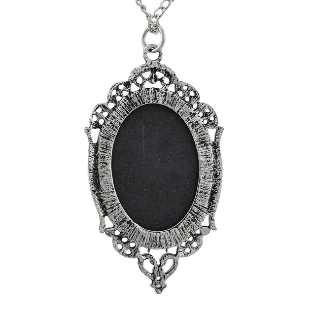 Gothic Black Rose Cameo Necklace In Silver Tone Chain Necklaces
