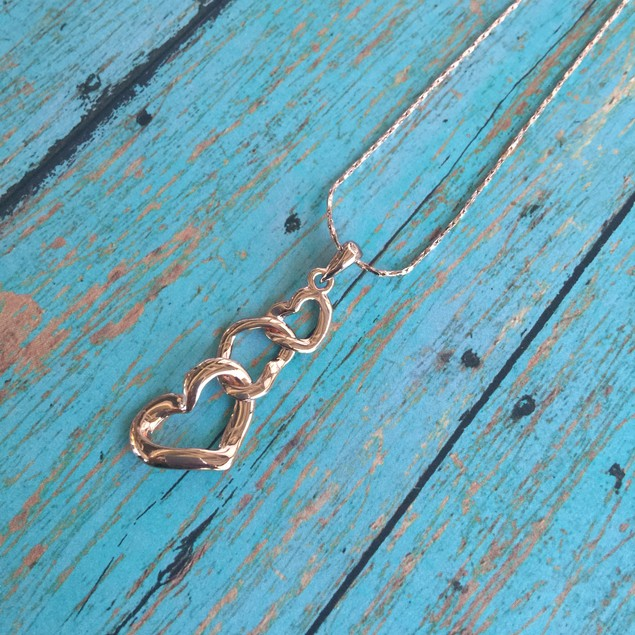 Rose Gold Plated Triple Heart Locked Necklace