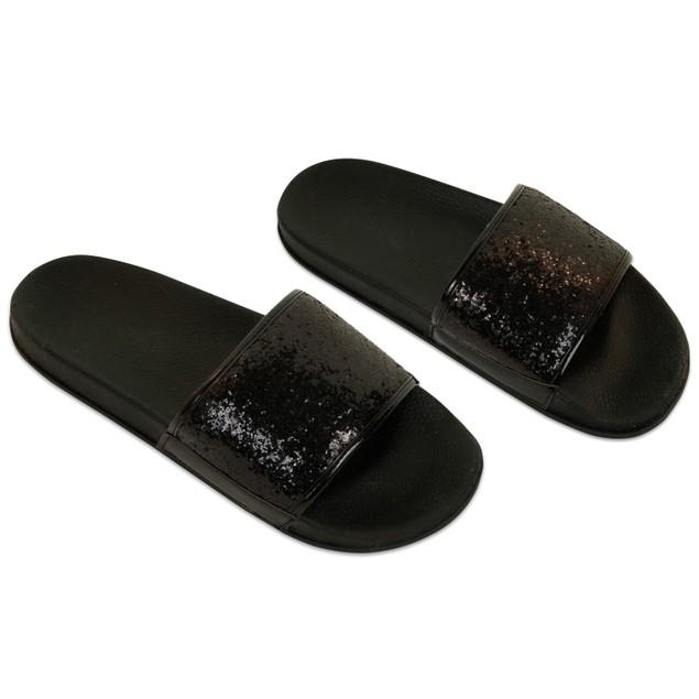 Women's Shiny Metallic Slide Sandals