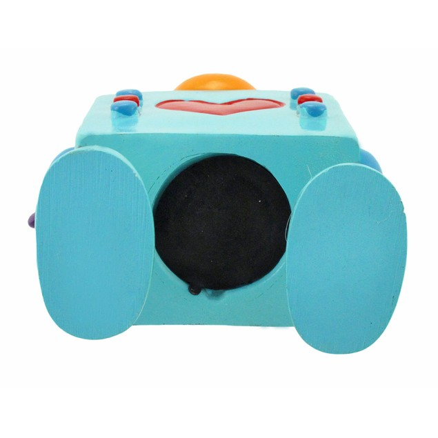 Whimsical Turquoise Robot Coin Bank With Springy Toy Banks