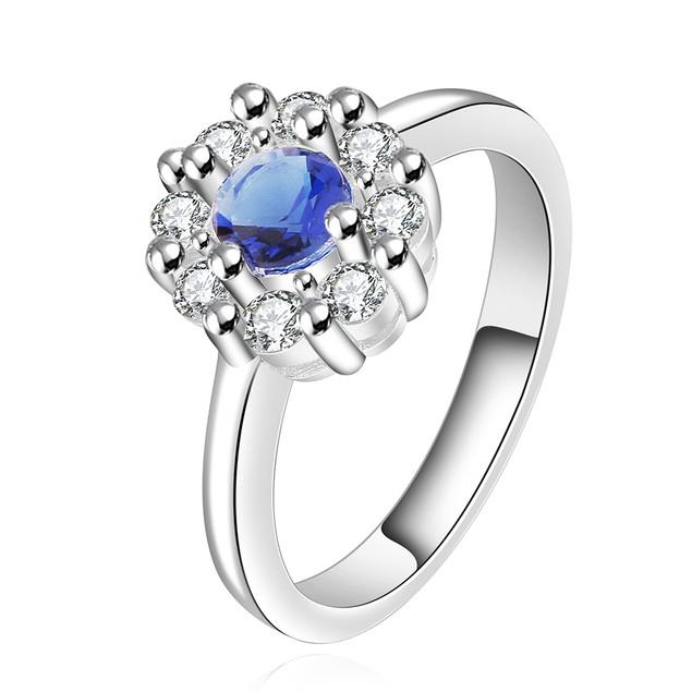 Silvertone Blue Stone Ring