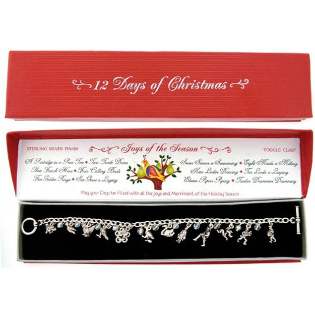 """12 Days of Christmas"" Charm Bracelet with Gift Box"