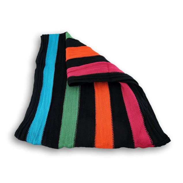 Black/Multi Striped Knit Infinity Scarf Mens Cold Weather Scarves