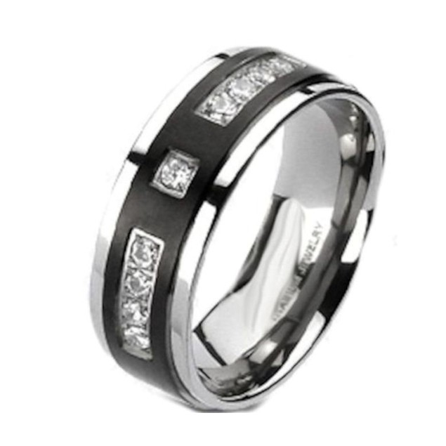 His Hers Black Stainless Steel & Titanium Wedding Band Ring Set