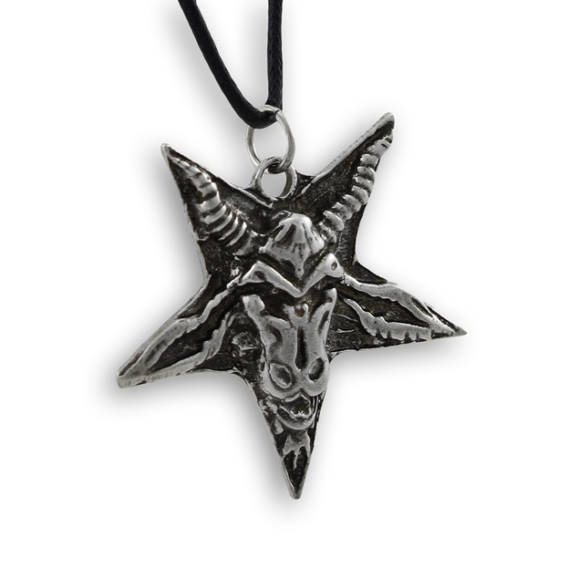 Pentacle Of The Goat Pewter Pendant New Age Mens Pendant Necklaces