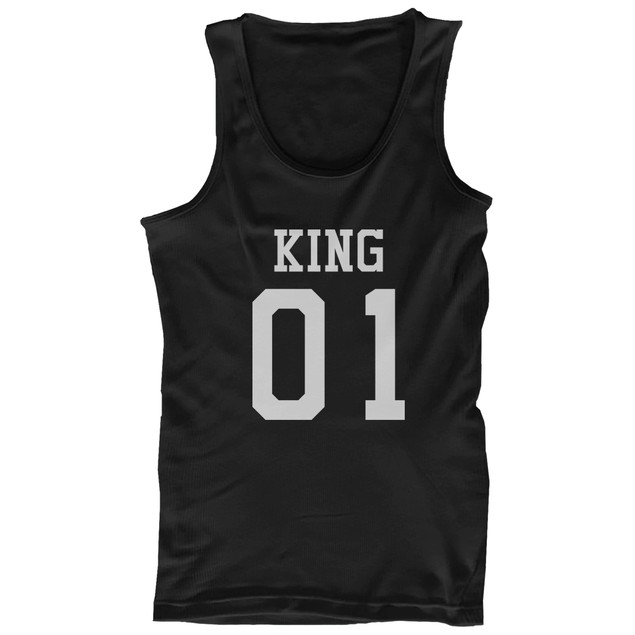King 01 Queen 01 Couple Tank Tops Matching Tanks Summer Vacation Tee