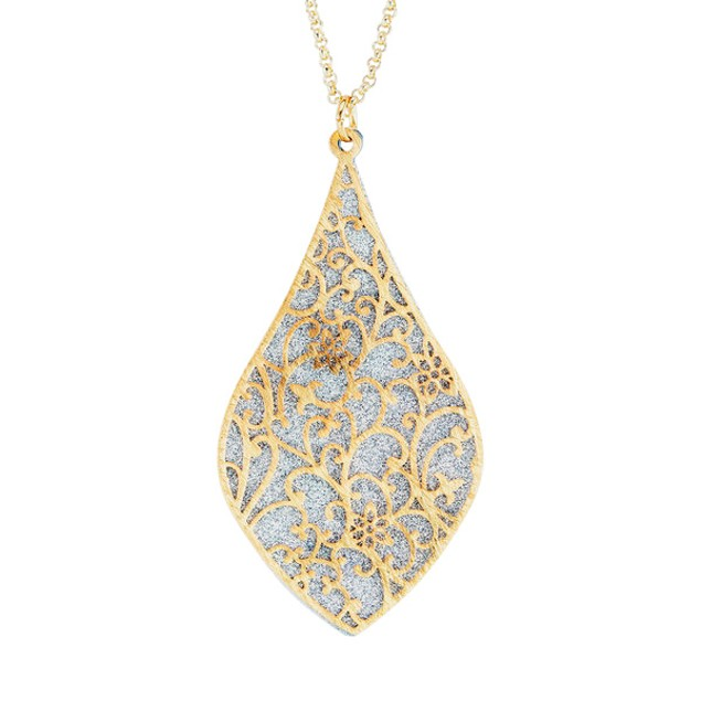 18kt Gold Plated Sterling Silver Glitter Necklace - Silver/Gold Drop