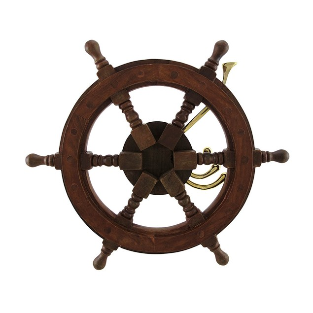 Wooden Ship Wheel Wall Hanging W/Adjustable Hooks Decorative Wall Hooks