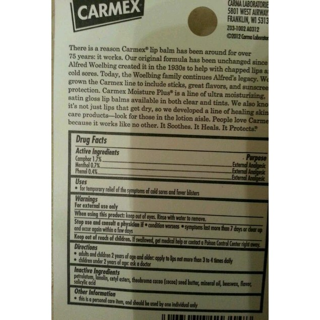 CARMEX SOOTHING LIP BALM - 1 Tube .35 oz / 10 g