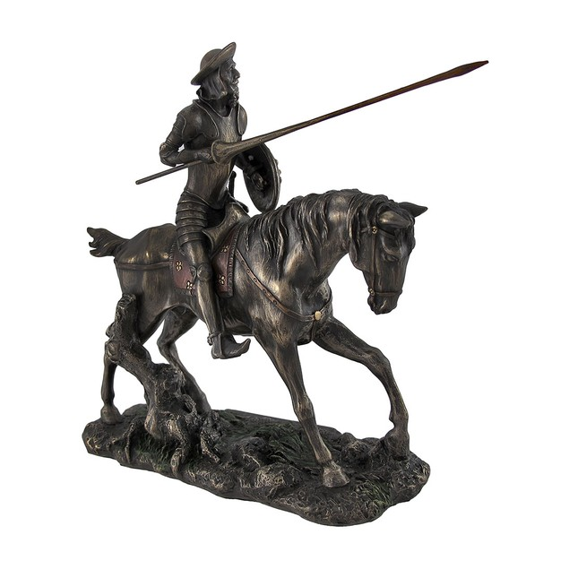Don Quixote Riding Steed With Lance Figure Statues