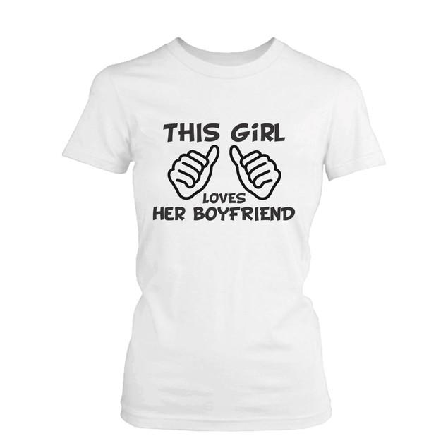 Funny Boyfriend and Girlfriend Matching Couple Shirts -White Cotton T-shirt