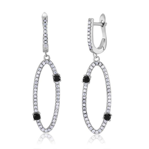 Sterling Silver Long Oval Cubic Zirconia Earrings