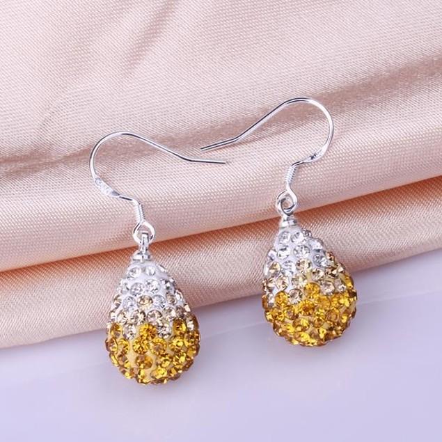 Oval Shaped Austrian Stone Drop Earrings -Yellow Citrine