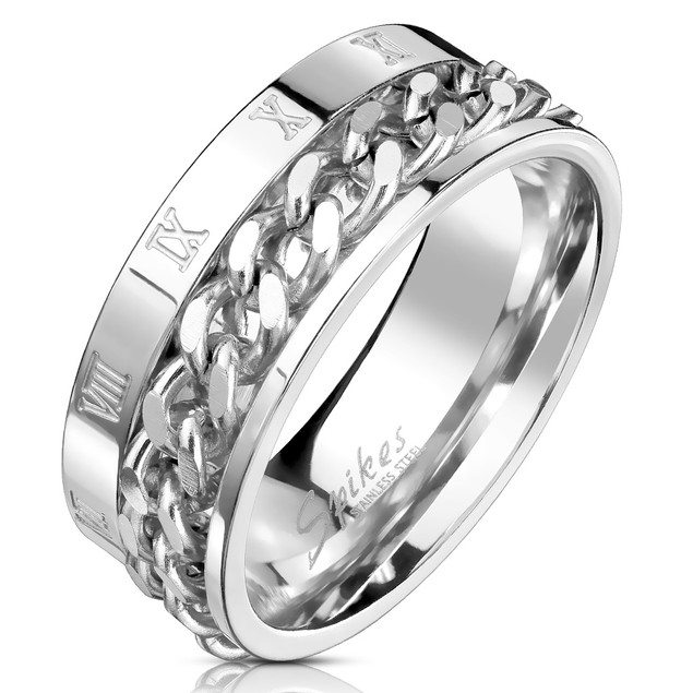White Chain Stainless Steel Comfort Fit Mens Band