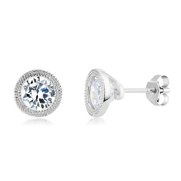 Gold Plated Imitation Diamond Deco Stud Earring