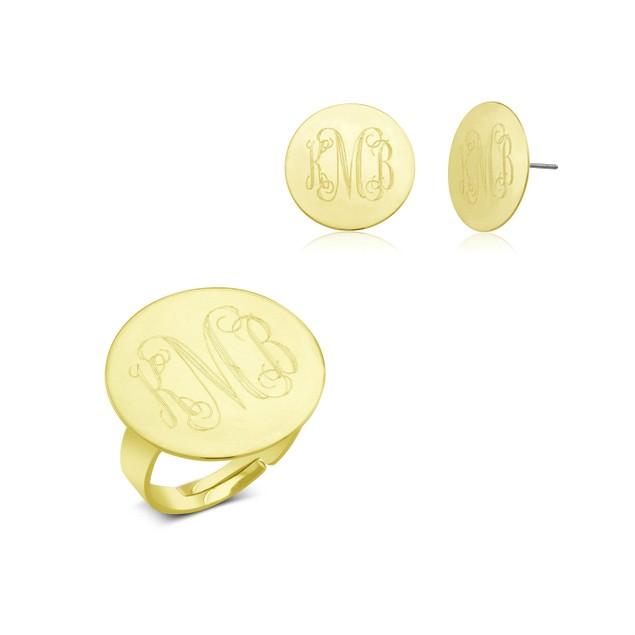 Monogrammed Ring & Earrings Jewelry Set - 3 Colors