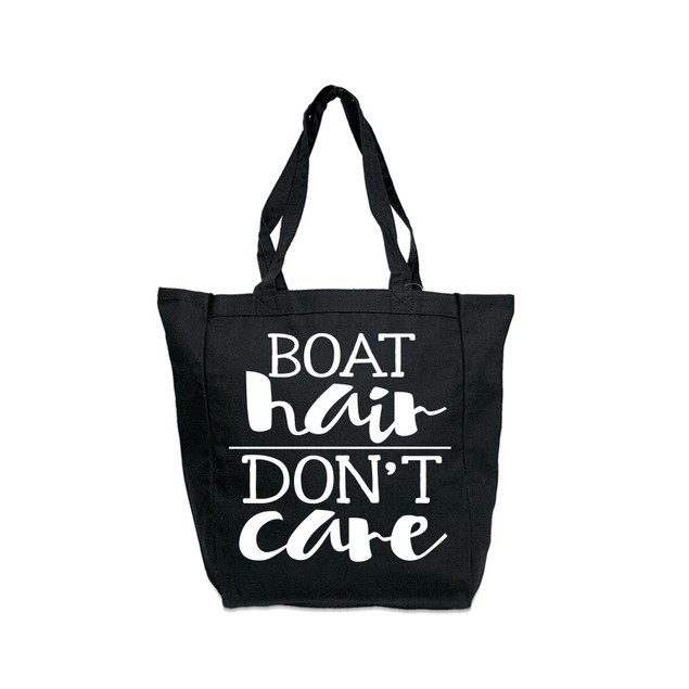 Boat Hair Don't Care Black Tote Bag
