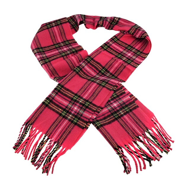 Pink Plaid Acrylic Neck Scarf Tartan Womens Cold Weather Scarves