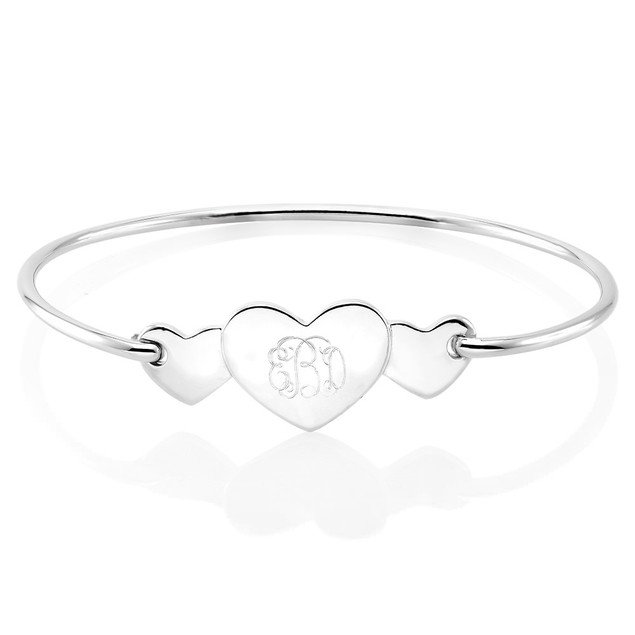 Personalized Triple Heart Monogram Bangle Bracelet