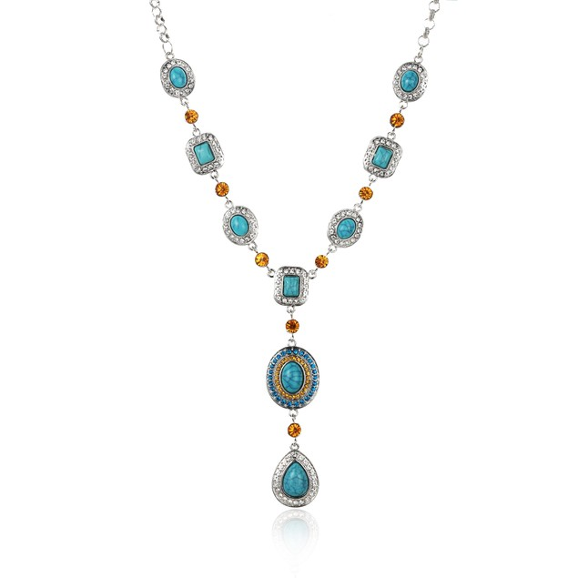 Turquoise Citrine Iced Water Drop Necklace