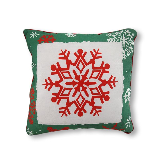 Reversible Winter Crisp Red And Green Snowflakes Throw Pillows