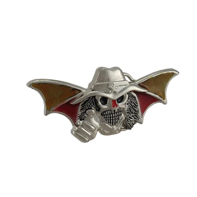 Bat Wing Cowboy Skull Chrome Belt Buckle Western Mens Belt Buckles
