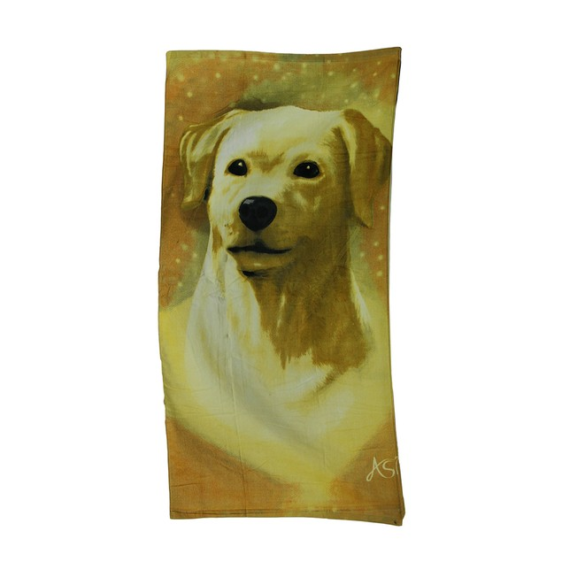 Golden Labrador Velour Beach Towel 30 X 60 In. Beach Towels