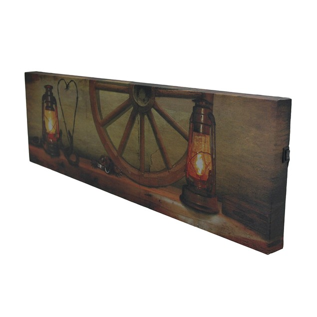 Rustic Led Lighted Lanterns Western Mantle Canvas Prints
