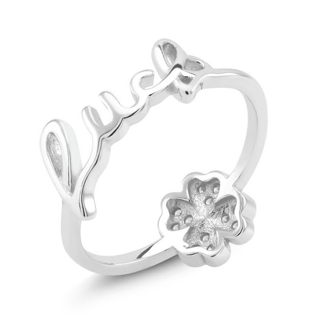 Sterling Silver Cubic Zirconia Luck Ring