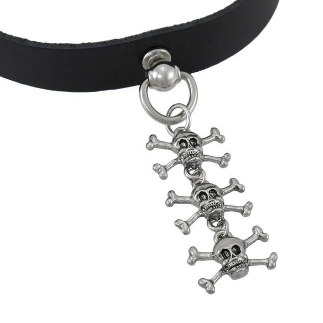 Black Leather Dangling Skulls Choker Collar Goth Mens Collar Necklaces