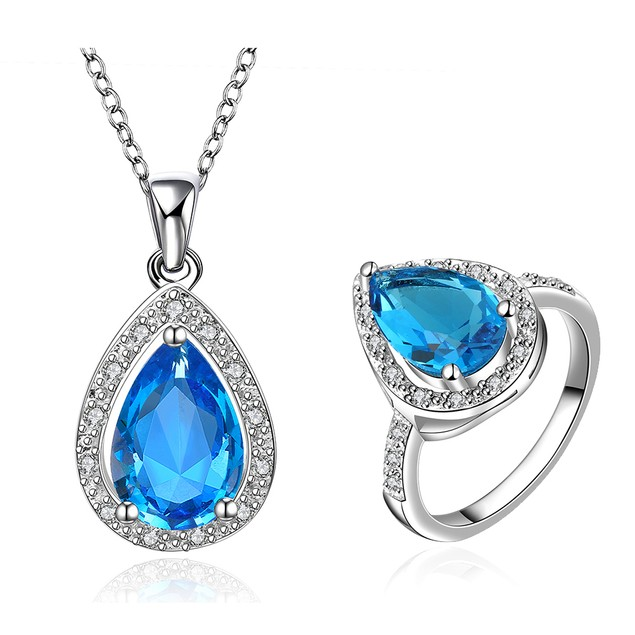 Water Drop Ring and Necklace Imitation Sapphire Austrian Crystal Set