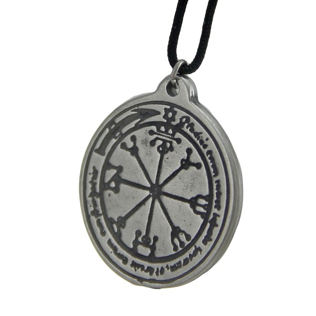 Solid Pewter Mystical Protection Charm Pendant W/ Mens Pendant Necklaces