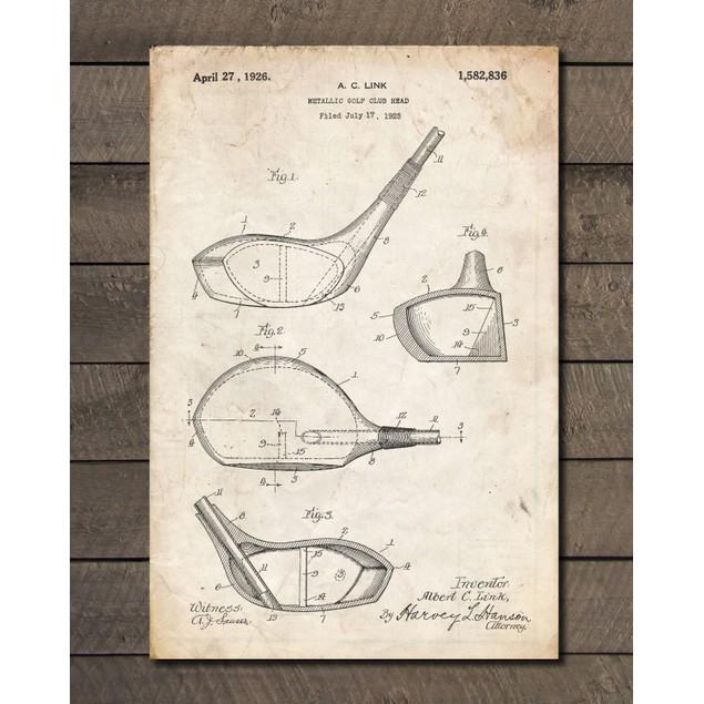 Gold Club Driver Patent Print - 3 Colors