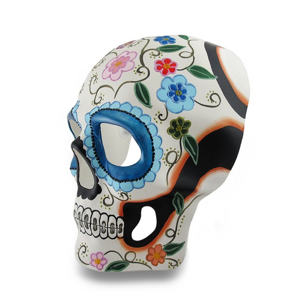 Colorful White And Blue Floral Dod Sugar Skull Mens Costume Masks