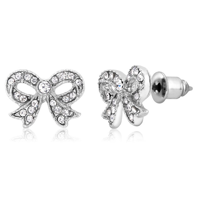 White Gold Plated CZ Crystal Bow Stud Earrings