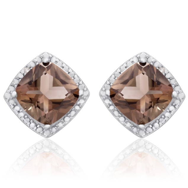 Sterling Silver 3 3/4 Carat Cushion Cut Smoky Quartz and Diamond Earrings