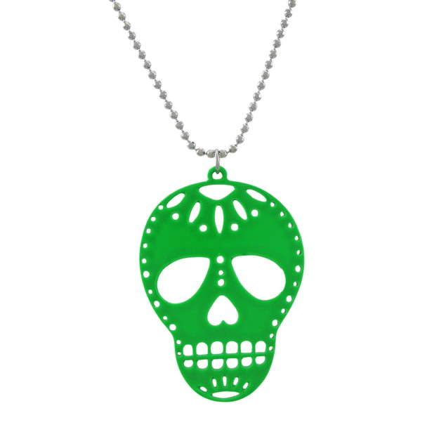 Green Enamel Sugar Skull Necklace And Earrings Set Womens Earring And