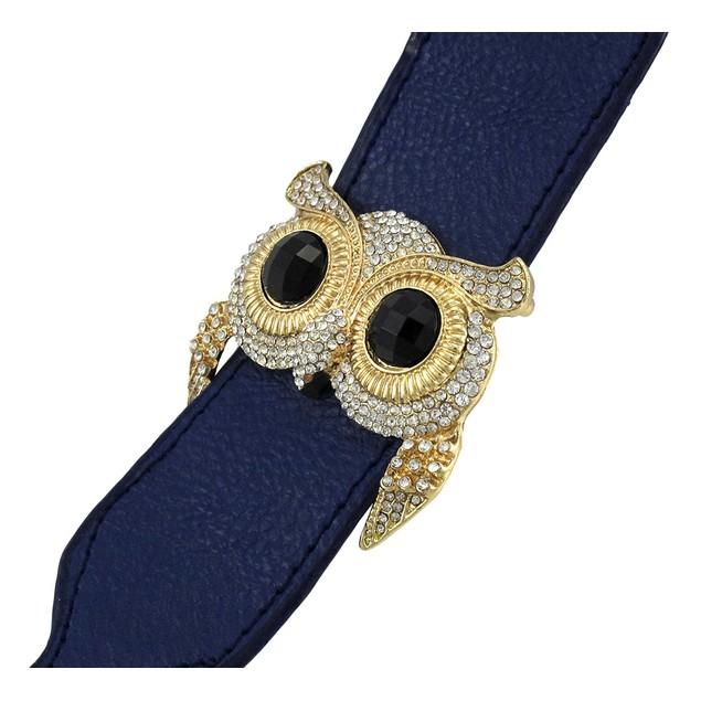 Blue Vinyl Wristband w/ Rhinestone Encrusted Goldtone Owl