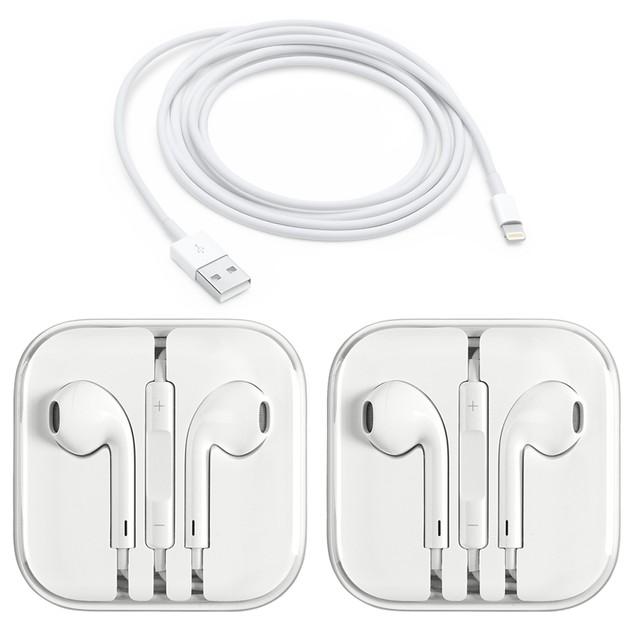 2-Pack Apple Original Earpods Earphones + Apple Origina