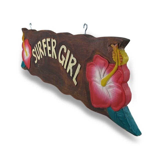 Surfer Girl Wooden Sign W/Pink Hibiscus Flower Decorative Plaques