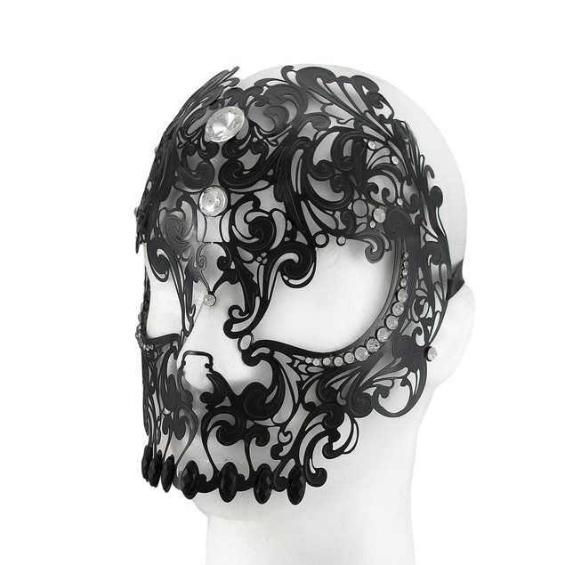 Lacy Black Jeweled Wearable Fantasy Masquerade Mens Costume Masks
