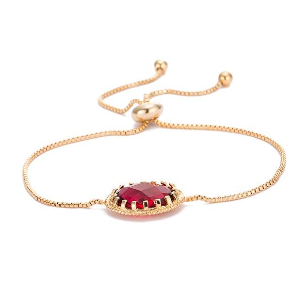 Gold Plated Ruby Crystal Classic Gem Bracelet