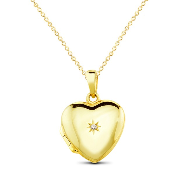Cubic Zirconia Puffed Heart Necklace