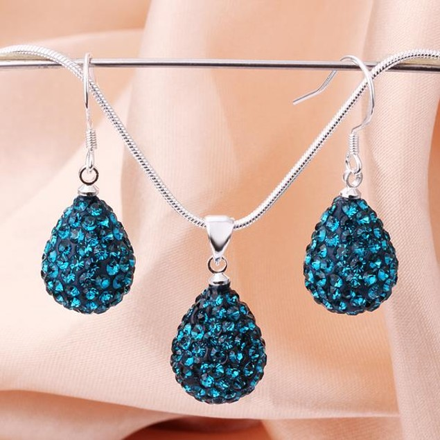 Austrian Stone Solid-Pave Pear Earring and Necklace Set - Teal Crystal