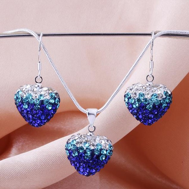 Austrian Stone Multi-Pave Heart Earring and Necklace Set - Blue Fusion