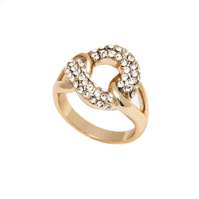 Gold and Swarovski Elements Node Ring