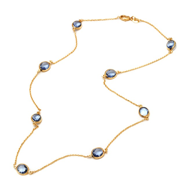 Light Blue Round-Cut Crystal Necklace