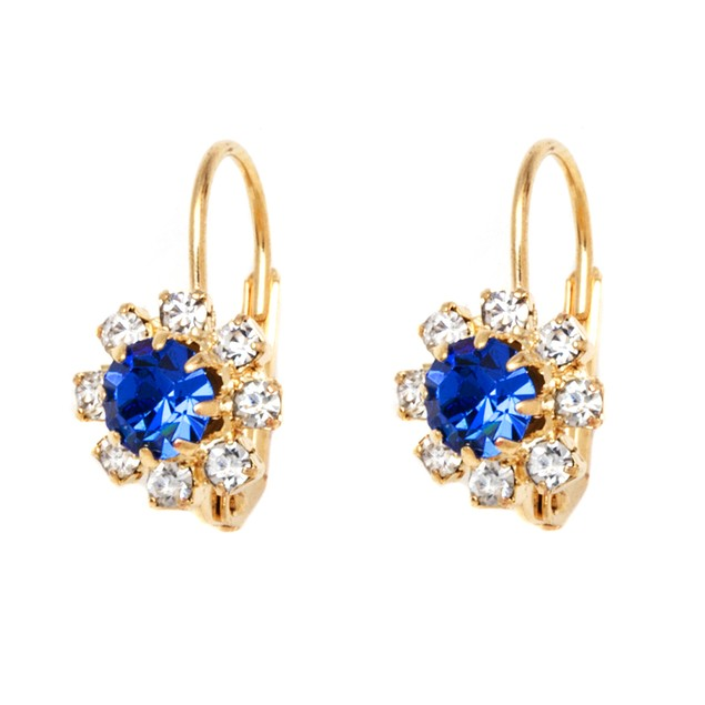 Royal Blue Crystal Flower Huggie Earrings